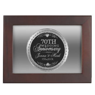 70th Silver & Black Wedding Anniversary Keepsake Box