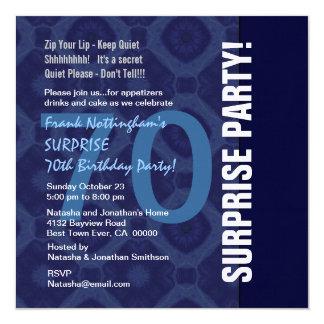 70th SURPRISE Birthday Blue Diamonds Linen Custom Invitations