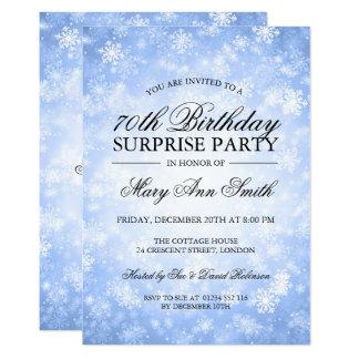 70th Surprise Birthday Blue Winter Wonderland Card