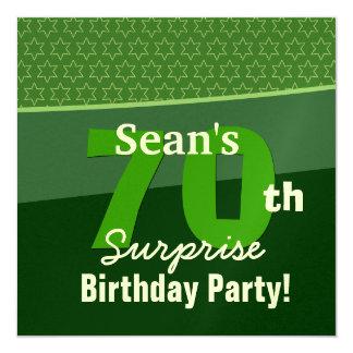 70th Surprise Birthday Kelly Green U595 13 Cm X 13 Cm Square Invitation Card