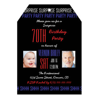 70th Surprise Birthday Party His Photos on Black 13 Cm X 18 Cm Invitation Card