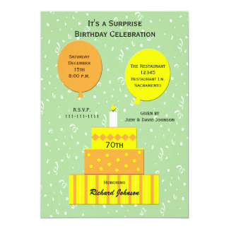 "70th Surprise Birthday Party Invitation 5"" X 7"" Invitation Card"