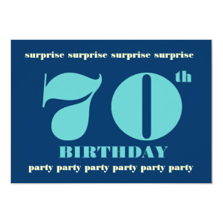 70th SURPRISE Birthday Party Invitation - Blue