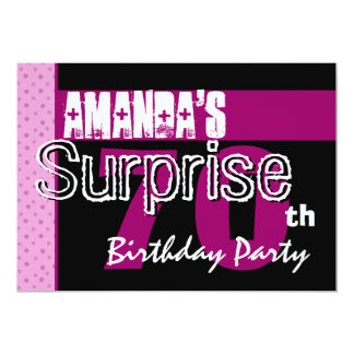 70th Surprise Birthday Party Pink Pattern Template Card