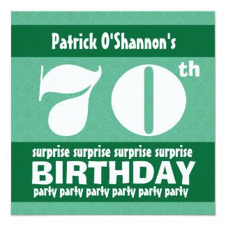 70th SURPRISE  Birthday Party Pink Stars B418 13 Cm X 13 Cm Square Invitation Card