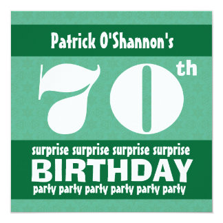 70th SURPRISE  Birthday Party Pink Stars B418 13 Cm X 13 Cm Square Invitation Card