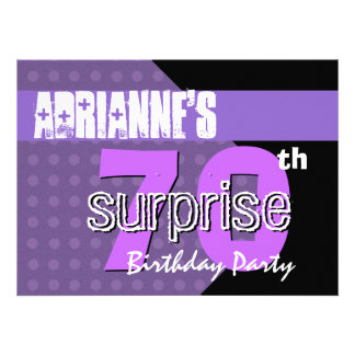 70th Surprise Birthday Party Purple Polka Dots Invites