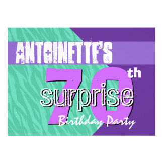 70th Surprise Birthday Party Teal Purple Zebra V01 Invitation