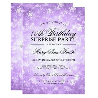 70th Surprise Birthday Purple Winter Wonderland Card
