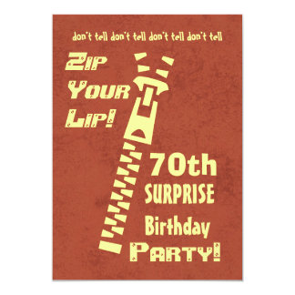 70th Surprise Birthday Zip Your Lip Muted Grunge 13 Cm X 18 Cm Invitation Card