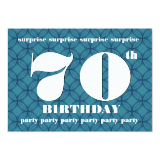 70th SURPRISE Blue and White Birthday Party F005 13 Cm X 18 Cm Invitation Card