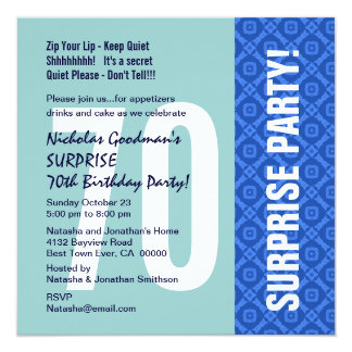 70th Surprise Party Modern Blue Diamond Pattern 13 Cm X 13 Cm Square Invitation Card
