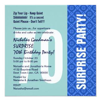70th Surprise Party Modern Blue Diamond Pattern 13 Cm X 13 Cm Square Invitation Card
