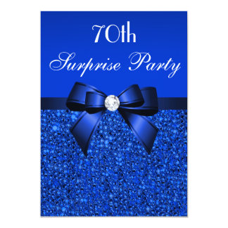 70th Surprise Party Royal Blue Sequins and Bow 13 Cm X 18 Cm Invitation Card
