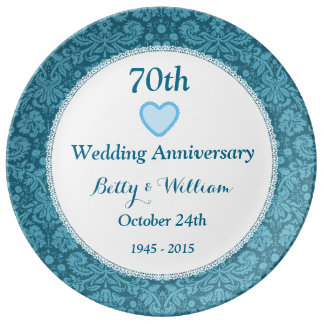 70th Wedding Anniversary Blue Damask and Lace N05C Porcelain Plates