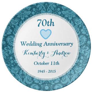 70th Wedding Anniversary BLUE Damask W70B Porcelain Plates