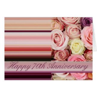 70th Wedding Anniversary Card -Pastel roses stripe
