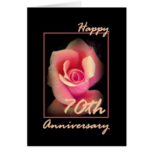70th Wedding Anniversary Gift: 70th Wedding Anniversary Card With Pink Rosebud