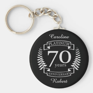 70th Wedding ANNIVERSARY PLATINUM Key Ring