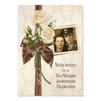70th Wedding Anniversary Roses Card
