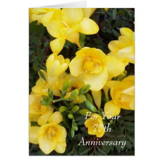 70th Wedding Anniversary Yellow Freesias Card