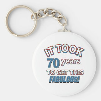 70th year birthday designs basic round button key ring
