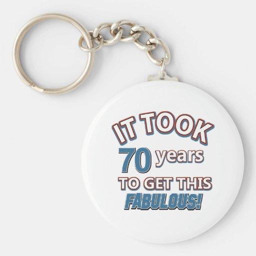 70th year birthday designs key chain