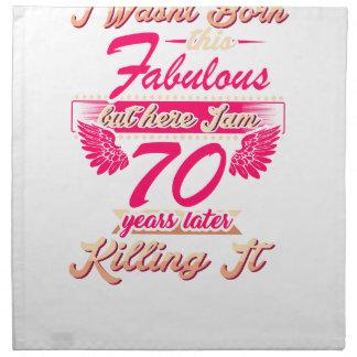 70th year birthday gift party tee shirt napkin