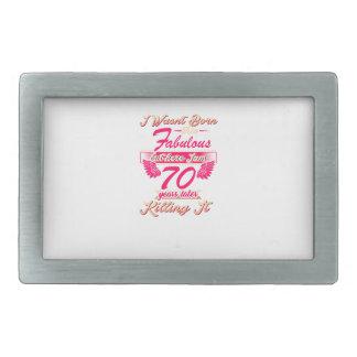 70th year birthday gift party tee shirt rectangular belt buckle