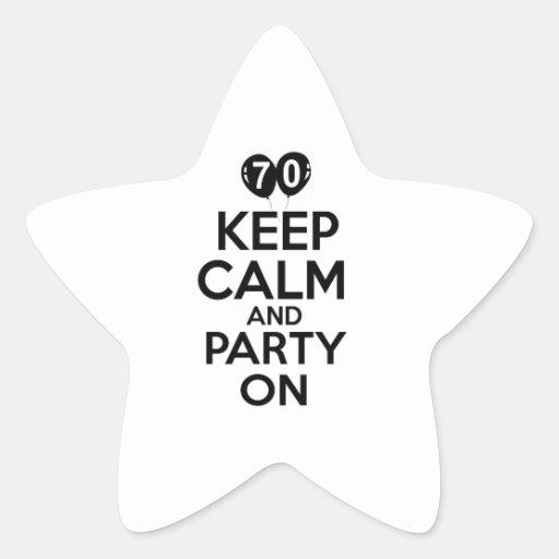 70th year old birthday designs star sticker