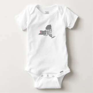 716 Heart Buffalo NY New York State Silhouette Baby Onesie