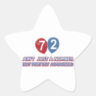 72 year birthday design star stickers