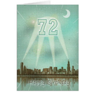 72nd Birthday card with a city and spotlights