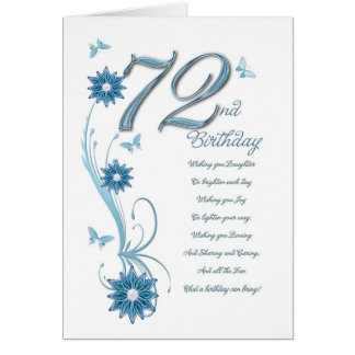 72nd birthday in teal with flowers and butterfly card