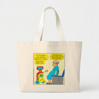 731 medical diagnostics robot cartoon large tote bag