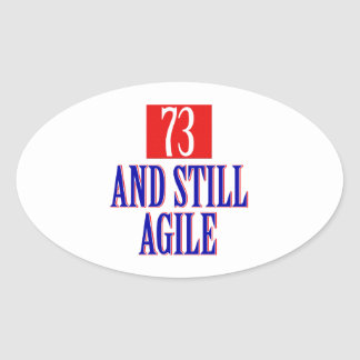 73years old birthday Designs Oval Sticker