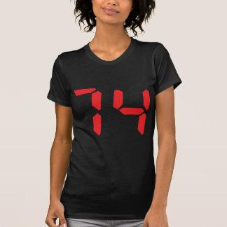 74 seventy-four red alarm clock digital number t shirt
