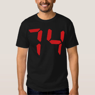 74 seventy-four red alarm clock digital number tee shirt