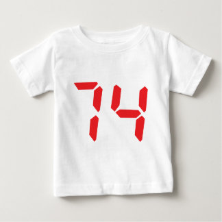 74 seventy-four red alarm clock digital number tee shirts