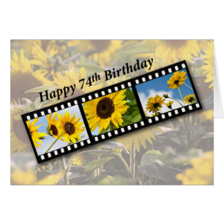 74th Birthday Sunflower Filmstrip Card