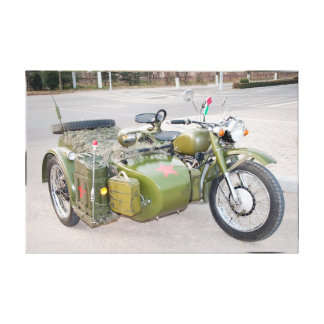 750B-2 army motorcycle with a sidecar blur Canvas Print