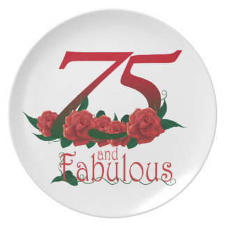 75  and fabulous 75th birthday number dinner plate