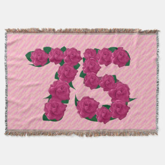 75 cute pink rose flowers 75th birthday blanket