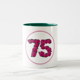 75 Number 75th Birthday Anniversary cute pink mug