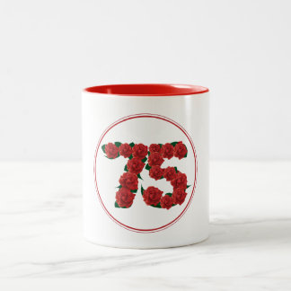 75 Number 75th Birthday Anniversary red mug