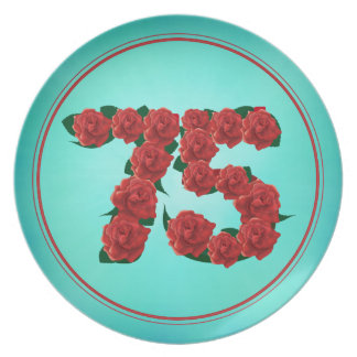 75 number birthday anniversary 75th roses plate