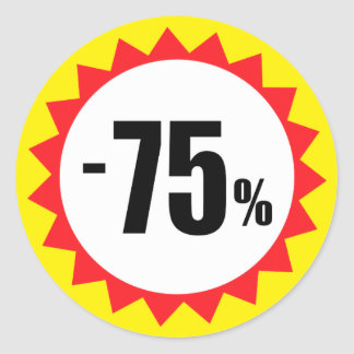 75 percent sale discount stickers red white yellow