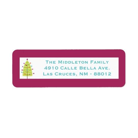 ".75""x2.25"" Modern Christma Tree Return Label Return Address Label"