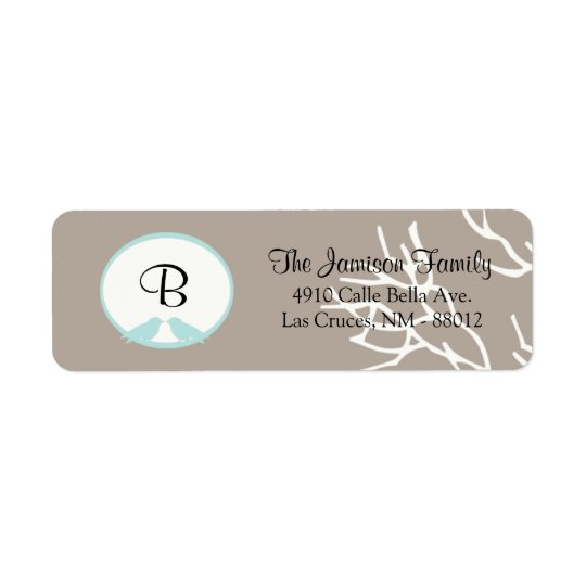 ".75""x2.25"" Return Address Label Grey Tree & Birds"