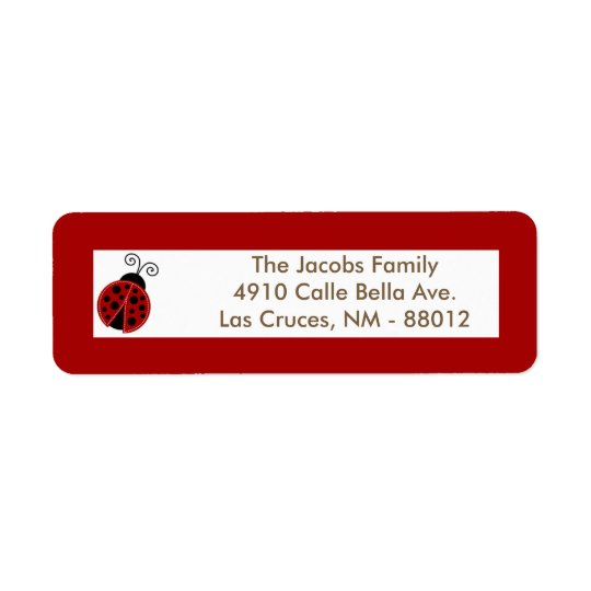 ".75""x2.25"" Return Address Label Red Ladybug"